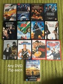 Dvds all cheap at 75p each