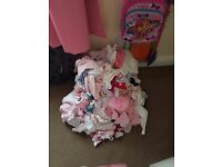 Baby girls clothes from birth to 0-3(clothes,hats scratch mits shoes some still new)