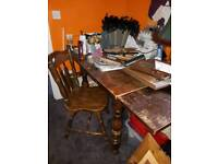 Free old solid wood table and 1 chair