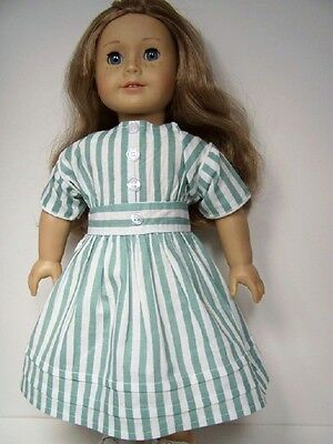 MINT GREEN Stripe Pioneer Era Dress Doll Clothes For 18