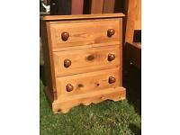 Solid pine bedside drawers x2