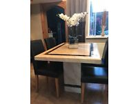 Genuine marble dining table plus 4 leather chairs