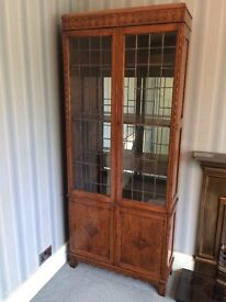 1930s Solid Wood Display Cabinet with Leaded Glass Doors