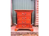 Antique style solid wood bedside cabinet, bedside table with 4 drawers for bedroom