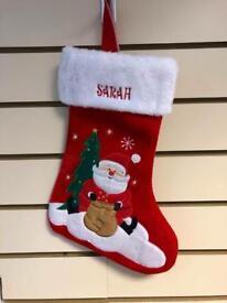 Personalised Embroidered Luxury Childs Christmas SANTA Stocking