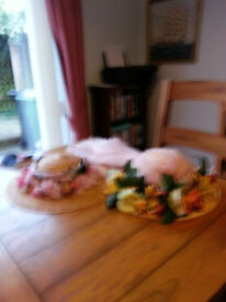 2 easter bonnets with artificial flowers & scarves