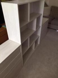 Ikea book shelf and 4 no sets of drawers.