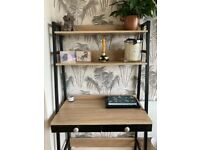 Ladder shelf and desk unit with draws