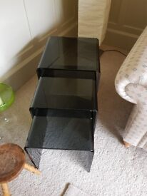 Nested black coffee tables