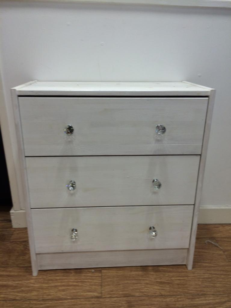 White Painted Chest Of Drawers Diamond Handles