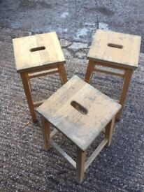Old wooden lab stools