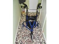 3 Wheel Rollator Folding Mobility Walking Aid with Brakes and Bag Attatched
