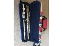 Flute with cleaning brush, rod & case