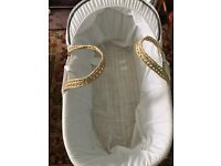 Unused Moses basket with stand