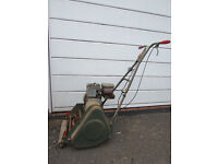 "VINTAGE WEBB 14"" Petrol Cylinder Lawnmower, Power drive & grass box"