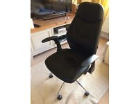 Office leather chair, swivel, height adjustable, lifting arms. As new