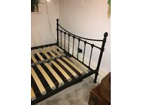 brass bed style double bed FRAME only - very dark brown powder coated metal.