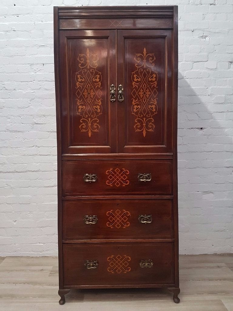 Edwardian Inlaid Linen Press (DELIVERY AVAILABLE FOR THIS
