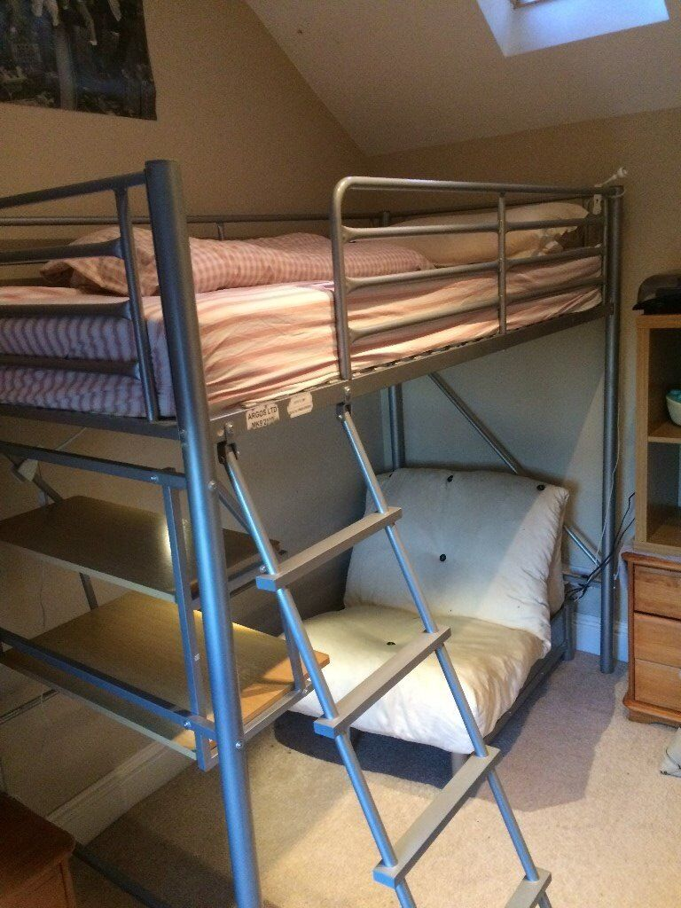 Cabin Bed with Desk and Futon. Metal frame, high-level. Integral ...