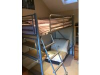 Cabin Bed with Desk and Futon. Metal frame, high-level. Integral desk and bookshelf.