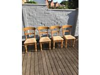 Solid Pine Antique Style Dining Chairs X 4