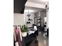 black gloss led reception desk counter furniture chairs mirror backwash basin unit hairdressing