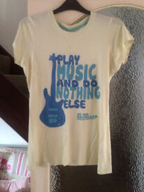 """Play Music and Do Nothing Else"" Yellow New Look Tee Size 10"
