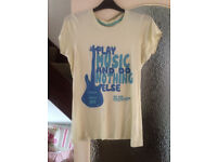 """""""Play Music and Do Nothing Else"""" Yellow New Look Tee Size 10"""