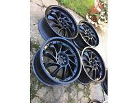 """18"""" black turbine alloy wheels 4x100 & 4x108"""