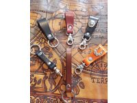 Italian Handmade Leather Keyrings with Various Designs and Colours
