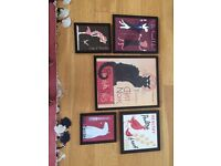 Set of professionally framed posters