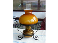 Ornamental Paraffin Lamp with wrought iron stand