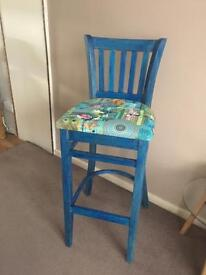 Solid wood up cycled bar stool