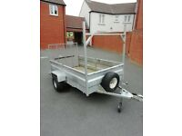GALVANISED STEEL CAR TRAILER WITH DROP DOWN TAIL BOARD £500 o.n.o