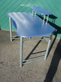Desk/Workstation, Mediteranian Blue & Aluminium, good size & hardwaring, easy to flatpack, 8 screws