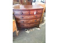 Sign written chest of draws