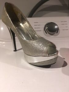 Silver high heel shoes
