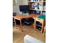 Smart corner desk with matching cabinet with drawer pine