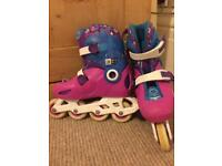 Girls' Oxelo Roller Blades size 11.5-13 UK 30-32 & Protection