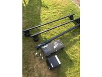Thule roof bars and rapid fit foot pack. Fits most car but Freelander kit included.
