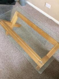 REDUCED Solid oak and glass coffee table