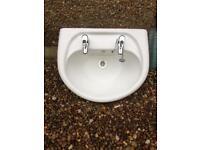 Wash hand basin, pedestal, taps and waste