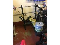 Weight training bench + extra weights