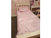 M&S white wooden single bed frame with full length under bed drawer. Rrp 399