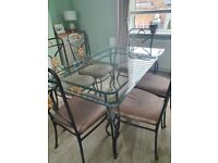 Dining table with 6 chairs and matching lamp table