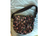 Floral navy satchel
