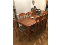 Solid pine dining table and six chairs for up cycling project