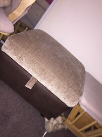 Beige and dark brown footstool/storage £20