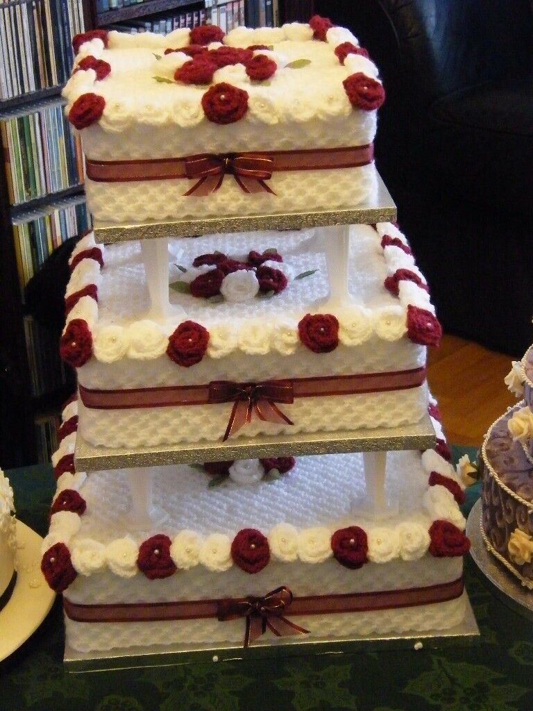 wedding Cake Knitted used as Prop for Photos