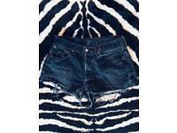 Faded Black Denim Levi's Shorts - UK 10